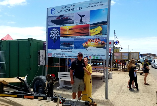 Owner of Mossel Bay Boat Adventures , Cobus van Rensburg, infront of the ticket office at the Mossel Bay Harbor